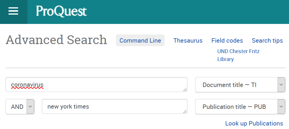 Screenshot from Proquest Newspapers database
