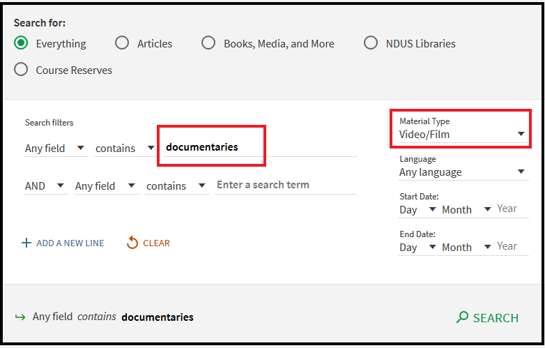 Library Advanced Search box