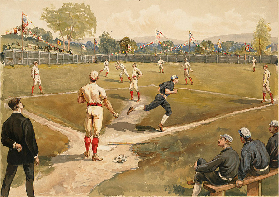 Painting of early baseball game