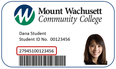 MWCC Student ID card with library card number highlighted