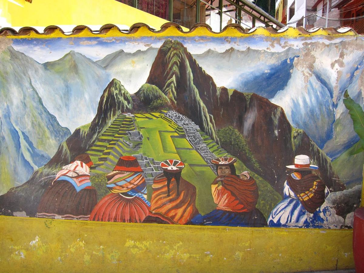 The mural of Machu Picchu in Aguas Calientes honors the Incas.