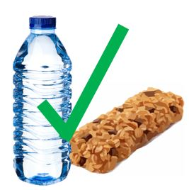 image of granola bar and bottled water as an illustration of snacks being okay in the library
