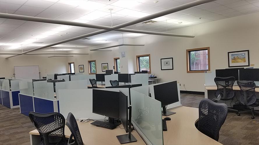 desks with computers
