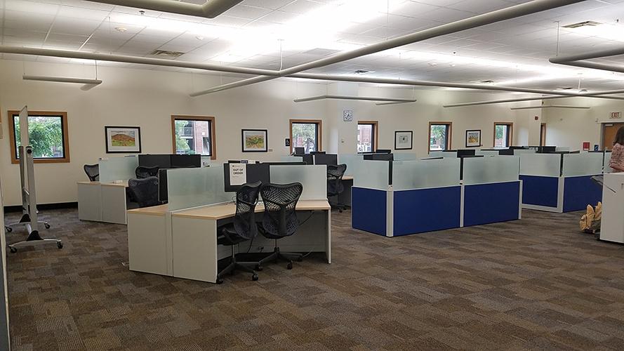 computer desks with computers