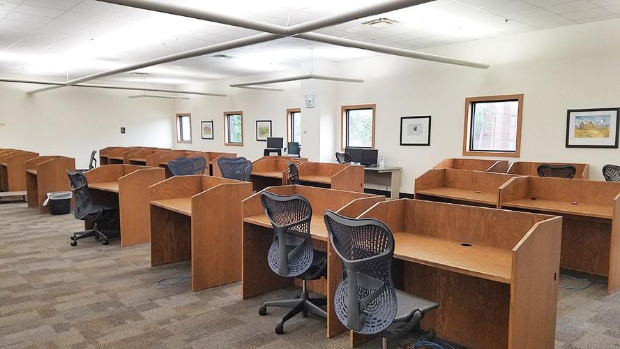 empty computer desks