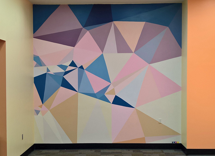 geometric shapes painted on wall