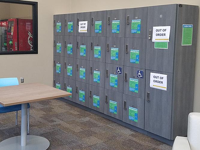 lockers against wall