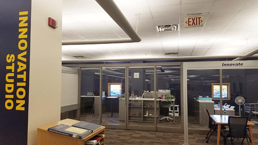desk through glass wall