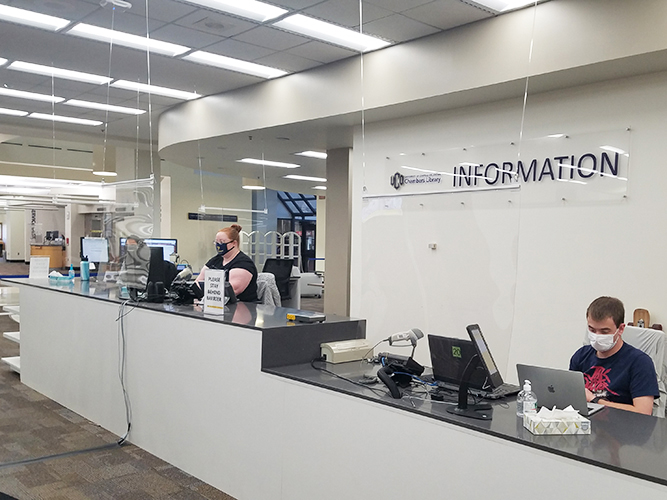 Information desk with staff members