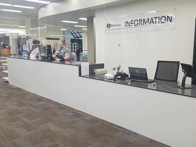 information desk with 2 staff
