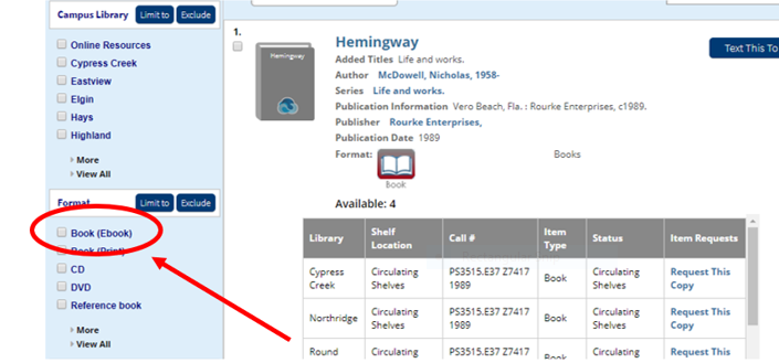 click ebooks option on the left