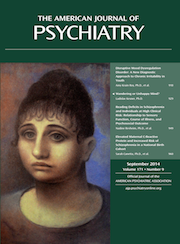 Cover of American Journal of Psychiatry September 2014