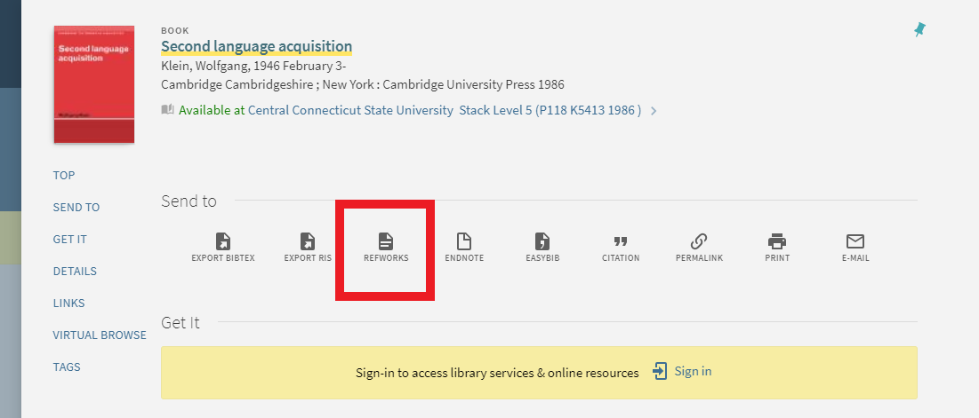 Screenshot of a bibliographic record in the library catalog with the RefWorks button circled