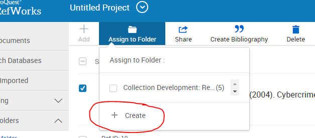 "Screenshot of RefWorks with ""create folder"" circled"