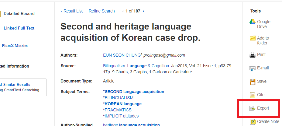 Screenshot of a bibliographic record in an EBSCO database with the export button circled