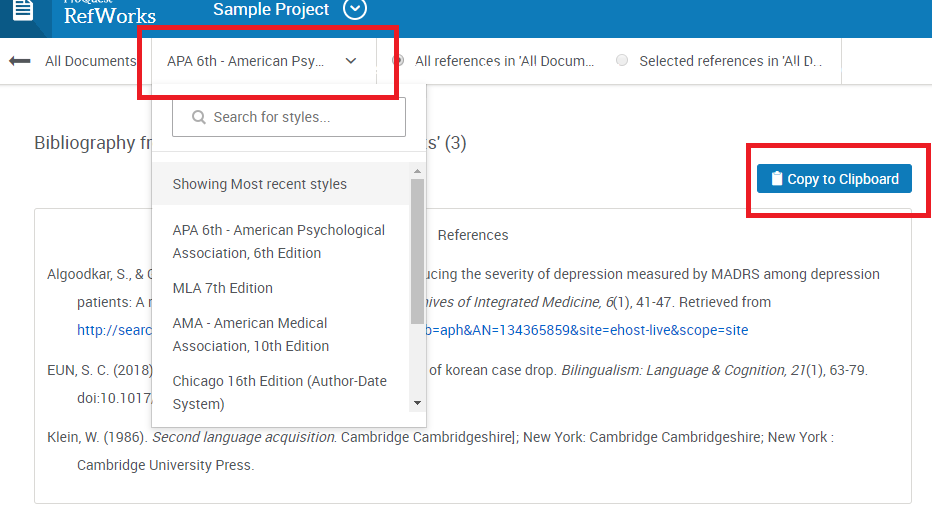 Bibliography window in RefWorks with citation selection drop-down menu circled at the top of the screen