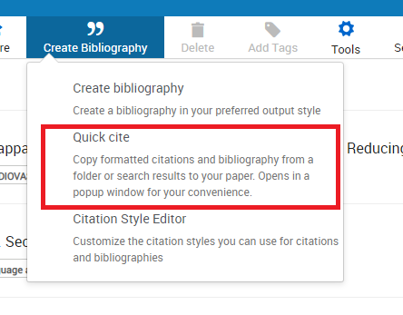 Create bibliography drop-down menu with quick cite circled