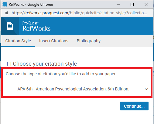 Quick Cite window step 1 choose a citation style