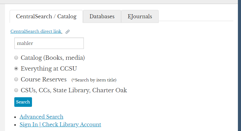 "The CentralSearch box on the library homepage with ""Mahler"" typed in the box"