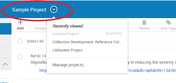 Screenshot of RefWorks with project selection menu circled