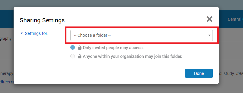 "Screenshot of the sharing settings window with the ""choose a folder"" drop-down menu highlighted"