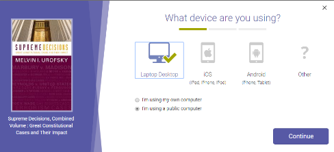 Screenshot of the step in which you must choose the device you are using