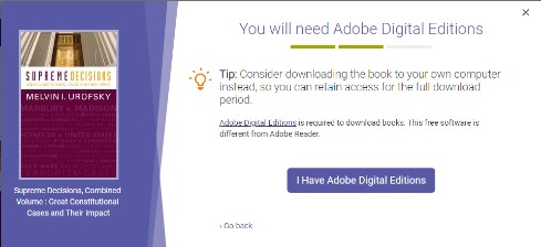 Screenshot of step in which you either download Adobe Digital Editions or confirm that you already have it.