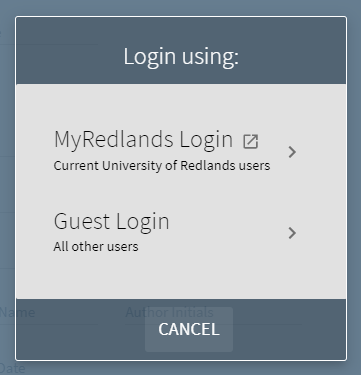 Primo login menu for myRedlands users and guests