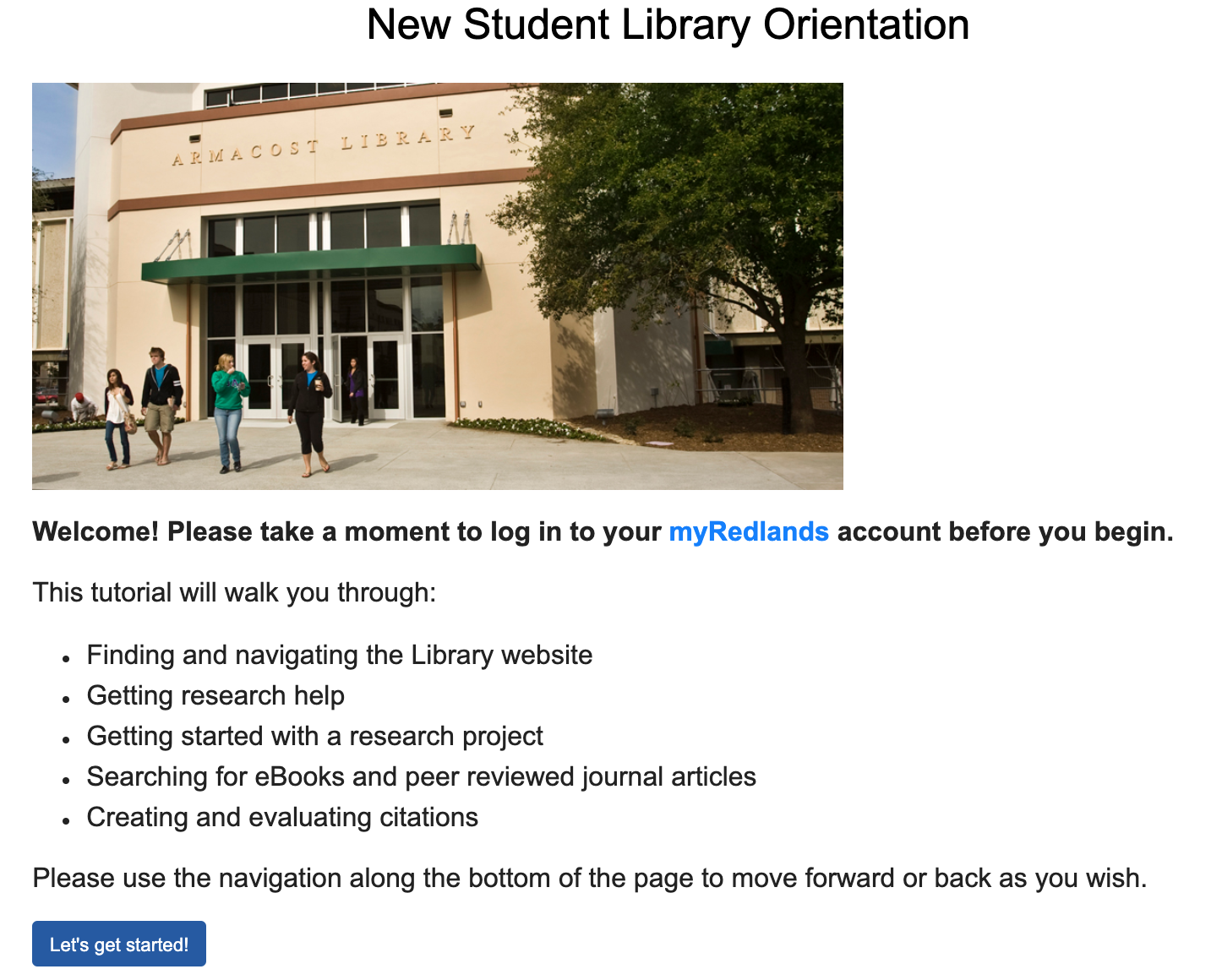 Hyperlinked screenshot of the New Student Library Orientation