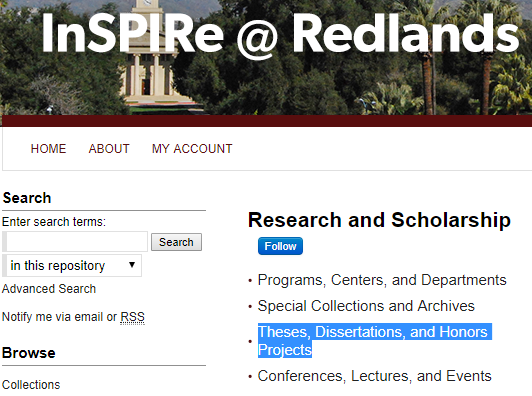 a screenshot of the InSPIRe home page highlighting the Theses, Dissertations, and Honors Projects link