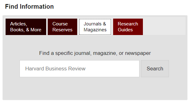 screenshot of the Journals & Magazines tab in the Find Information search box