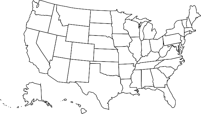 a blank map of the United States with states borders