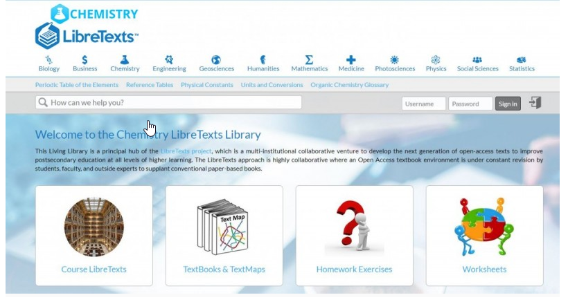 homepage of chemistry course in LibreTexts