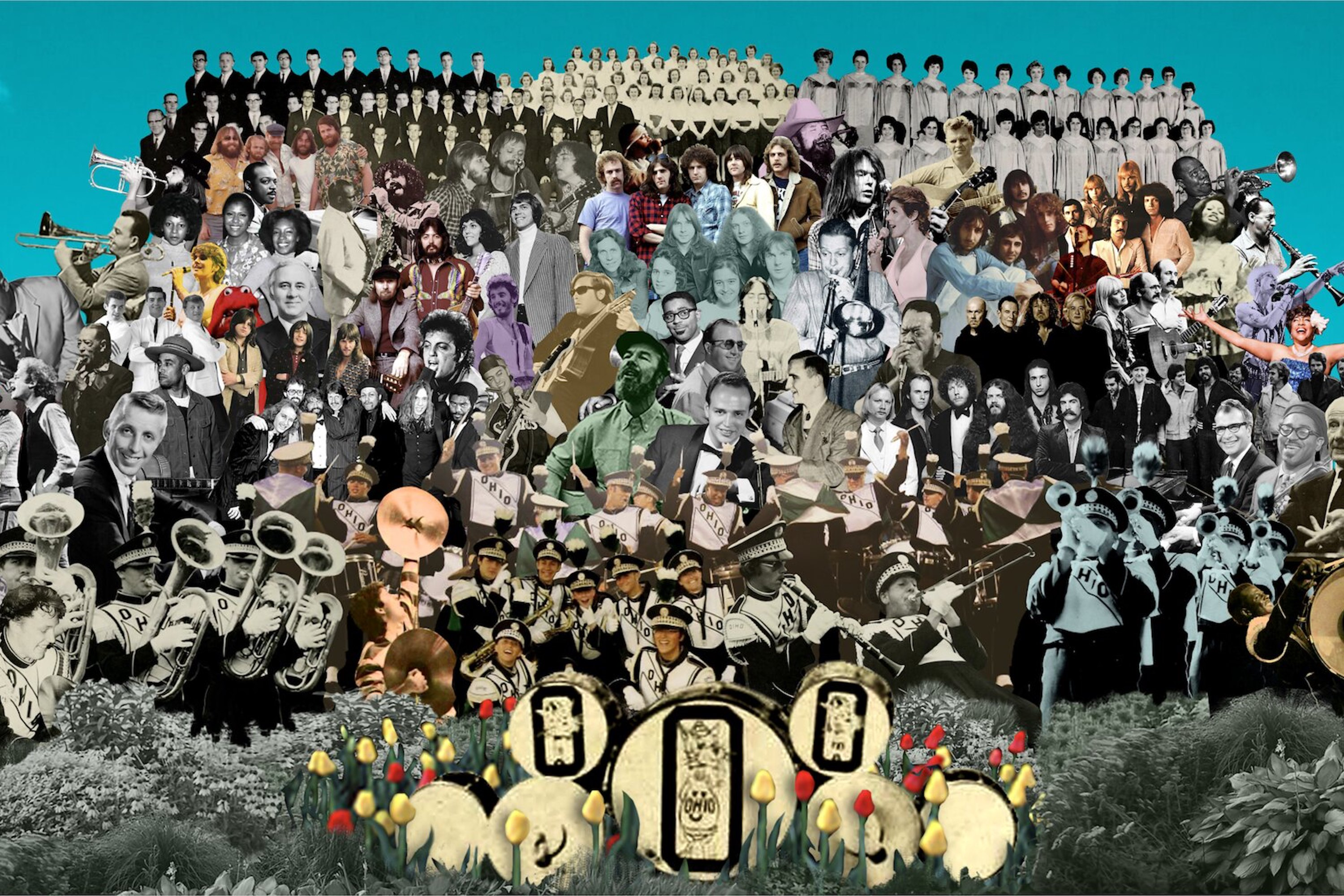 A collage of musicians in the style of the Sgt Pepper's album art.