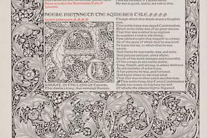 a manuscript leaf from a Kelmscott Press Chaucer edition