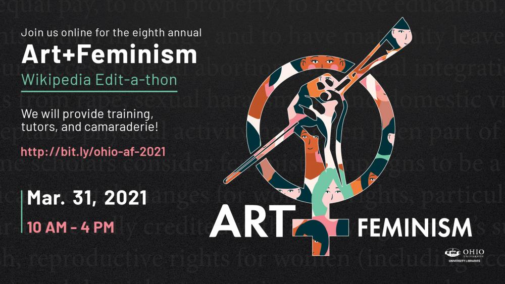 graphic with event details and logo, the gender symbol with a raised fist holding a paintbrush in place of a cross