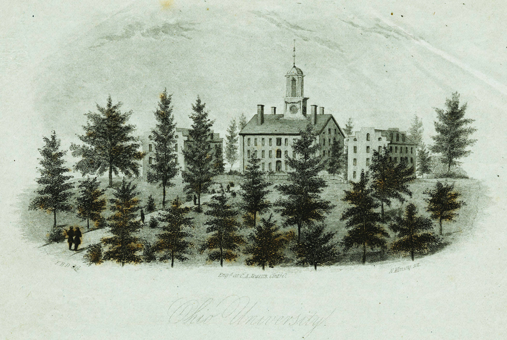 illustration of early OHIO building with trees