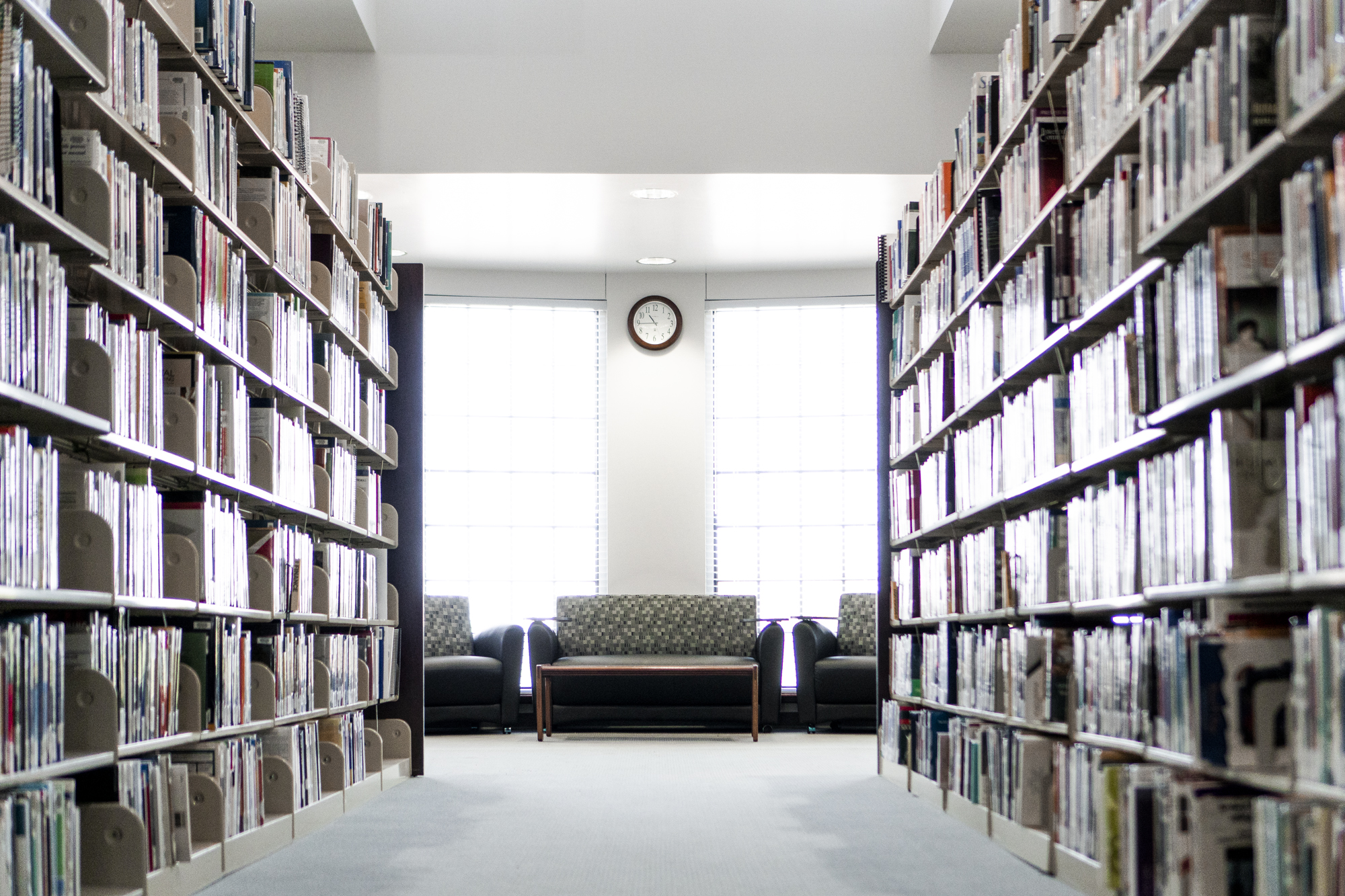 Bookshelves in Stratton Taylor Library.