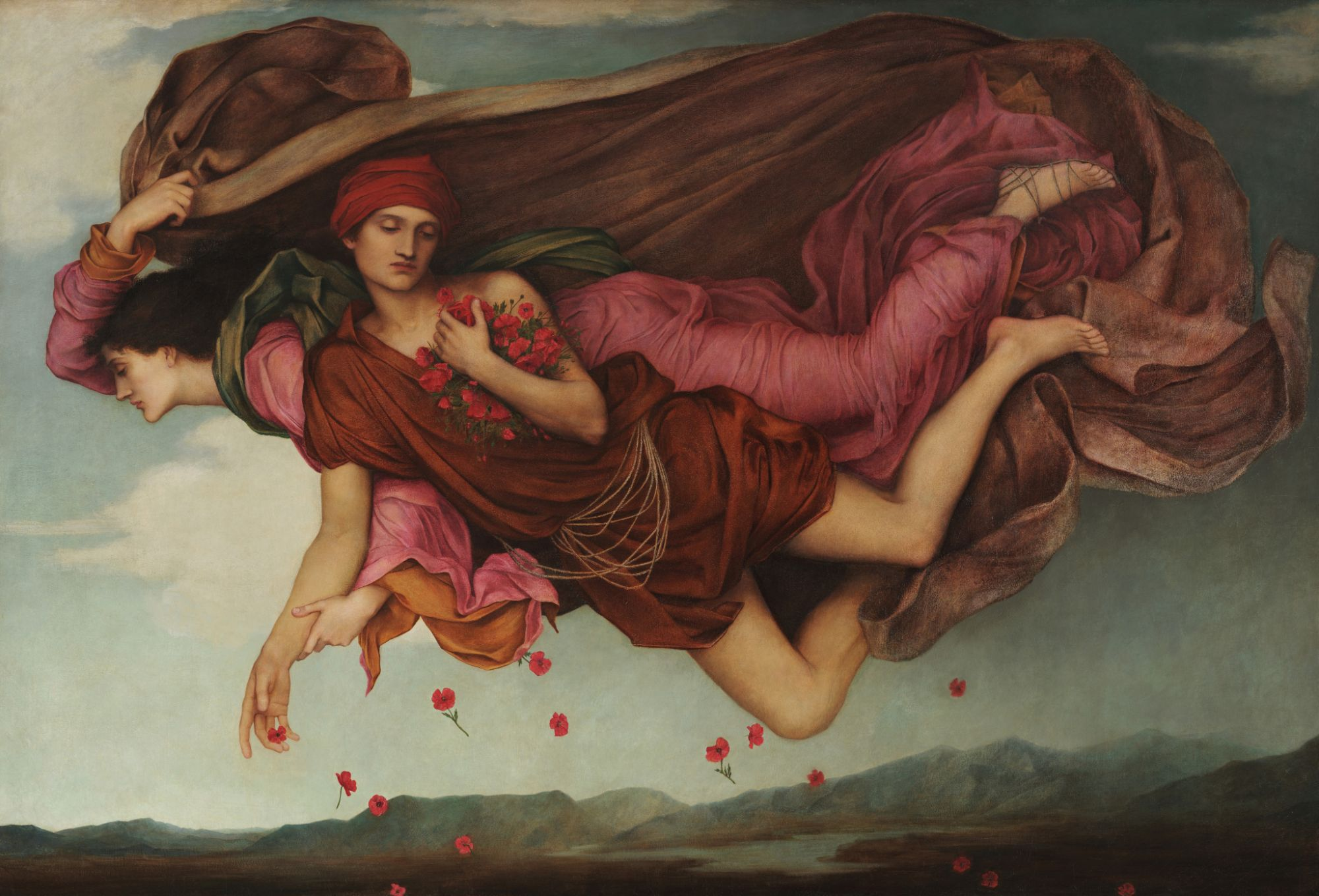 """Night floats through the evening sky, his red robes reminiscent of the sunset, and his billowing cloak darkening the sky behind him. He floats arm in arm with Sleep, who gently scatters poppies onto the earth beneath, from the armful of flowers that he has taken from his girdle. (The Victorians used laudanum as a sleeping draught, which was made from tincture of the opium poppy.) Both figures appear relaxed, with closed eyes, as if already half-asleep. The composition for the painting was inspired by Botticelli's Birth of Venus where Zephyr and Chloris fly with limbs entwined as a twofold entity: the ruddy Zephyr (Greek for """"the west wind"""") is puffing vigorously; while the fair Chloris gently sighs the warm breath that wafts Venus ashore. All around them fall roses–each with a golden heart–which, according to legend, came into being at Venus' birth."""