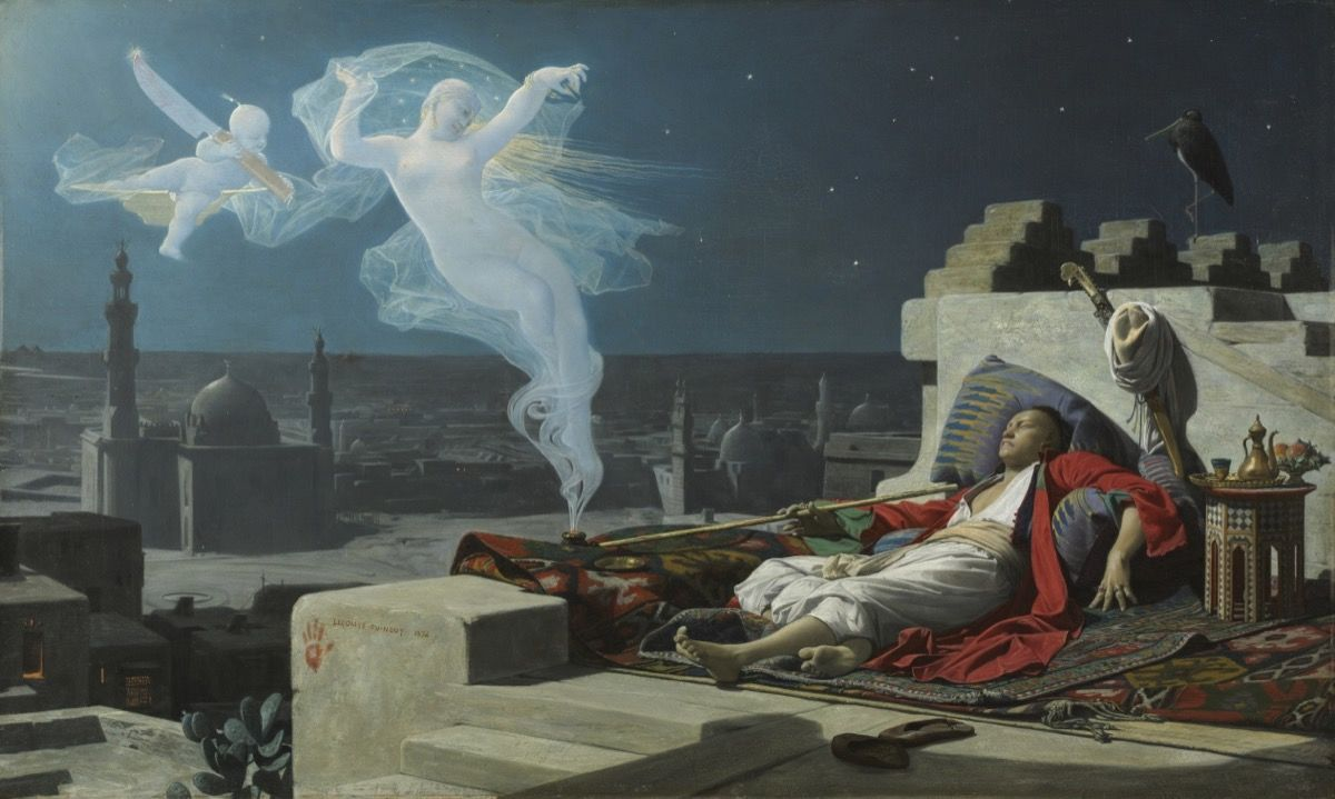 A man wearing white and red robes, sleeping under the night and starry sky at the rooftop of a desert house, In a Arabian village with a few mosque in the distance. The man was smoking on to a long eastern pipe, at the end of the pipe two smoky and spiritual figure coming from the smoke, a pale and bright women in the nude holding a vail and a baby holding a chef's knife.