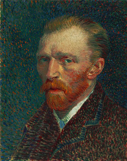 Portrait of Vincent Van Gogh with different shades of colors such as: Green, Blue and Red.
