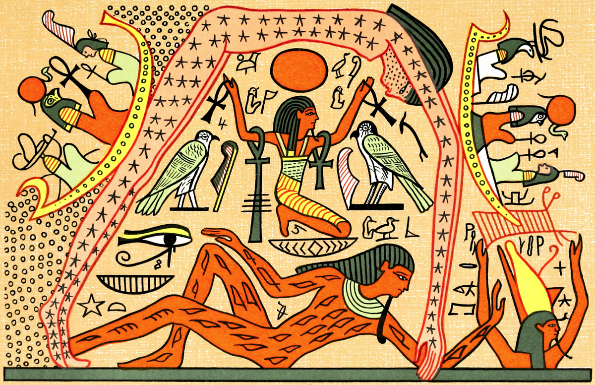 Egyptian Hieroglyph depicting Seb and Nut
