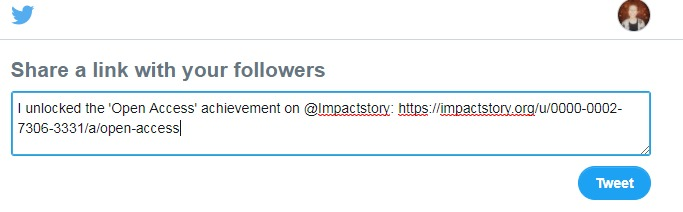 Screenshot of ImpactStory Open Access badge on Twitter