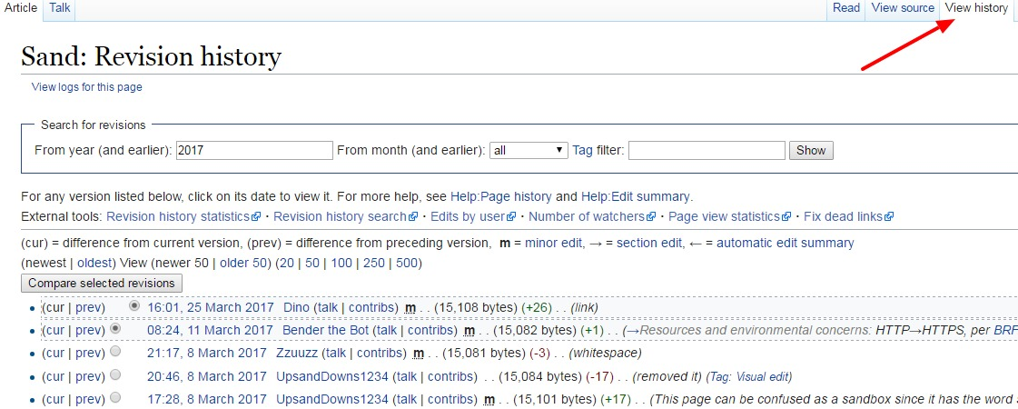 "Wikipedia article with ""view history"" tab highlighted."