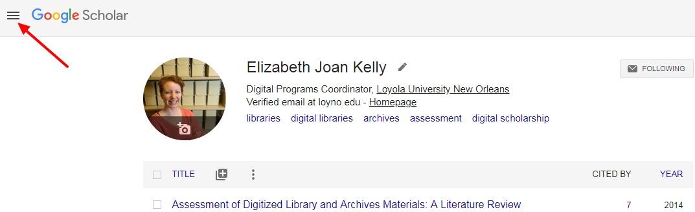 Screenshot of Main Menu location on Google Scholar