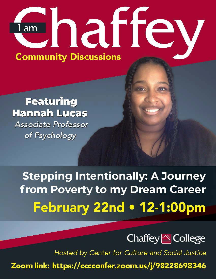 I am Chaffey: Stepping Intentionally: A Journey from Poverty to my Dream Career