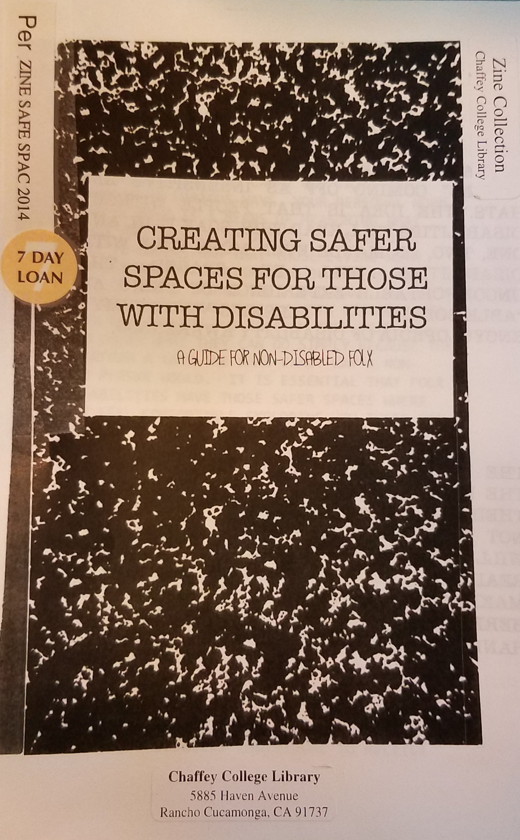 Creating safer spaces for those with disabilities : a guide for non-disabled folx