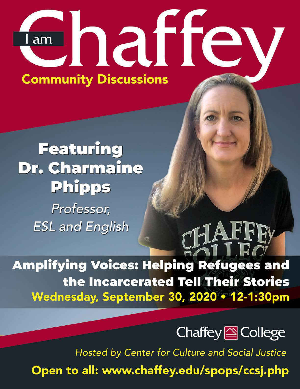 I am Chaffey Community Discussions Amplifying Voices: Helping Refugees and the Incarcerated Tell Their Stories