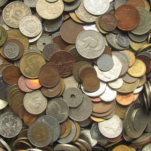 Photo of metal coins from around the world
