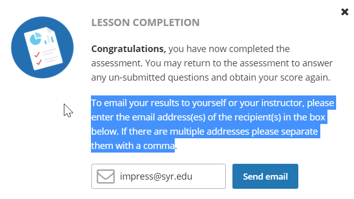 image of the form that gets filled out to submit a quiz score for a tutorial
